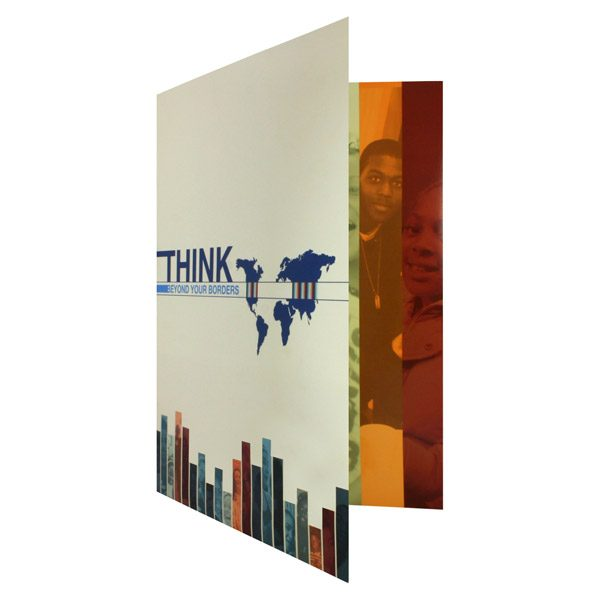 Tri-Fold Paper Folders by World Savvy (Front Open View)
