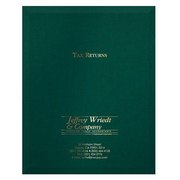 Wriedt Tax Return Presentation Folder (Front View)