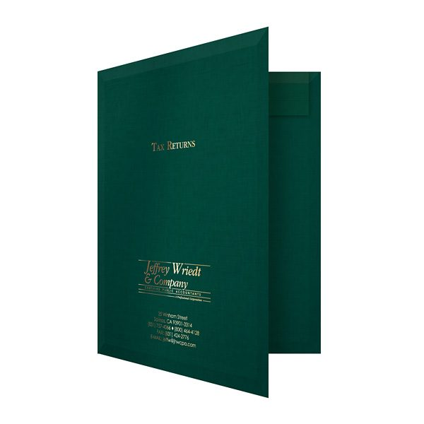 Wriedt Tax Return Pocket Folder (Front Open View)