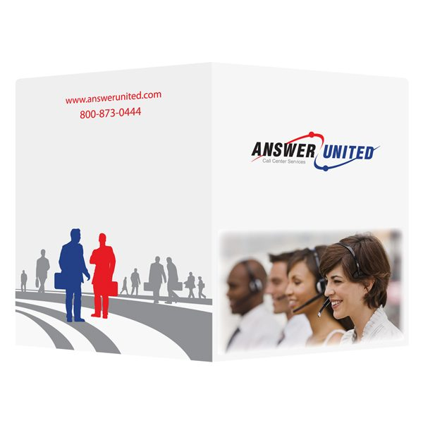 Answer United Phone Rep Business Folder (Front and Back View)