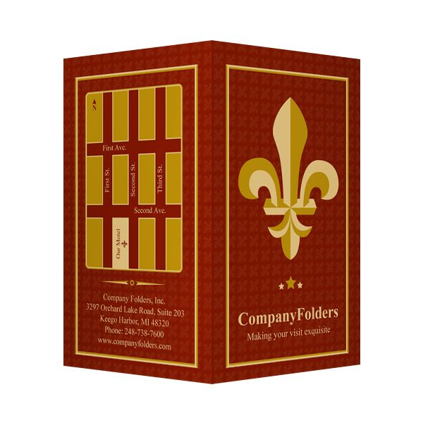 Fleur-de-lis Motel Key Card Folder Template (Front and Back View)