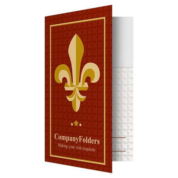 Fleur-de-lis Motel Key Card Folder Template (Front Open View)