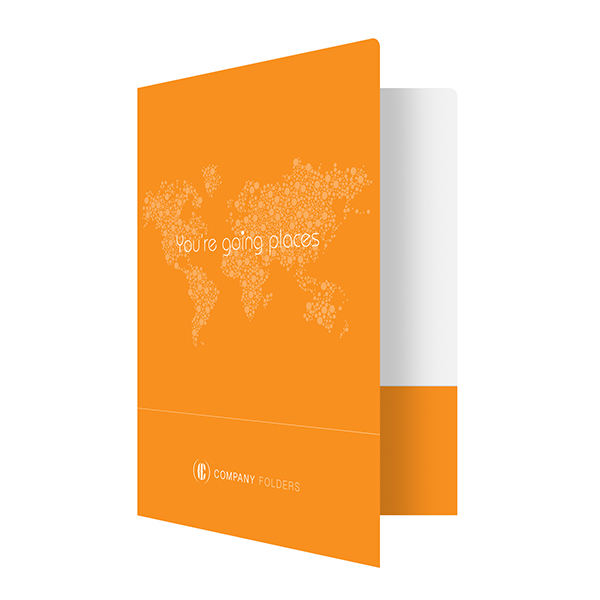 Orange Travel Agent Folder Template (Front Open View)