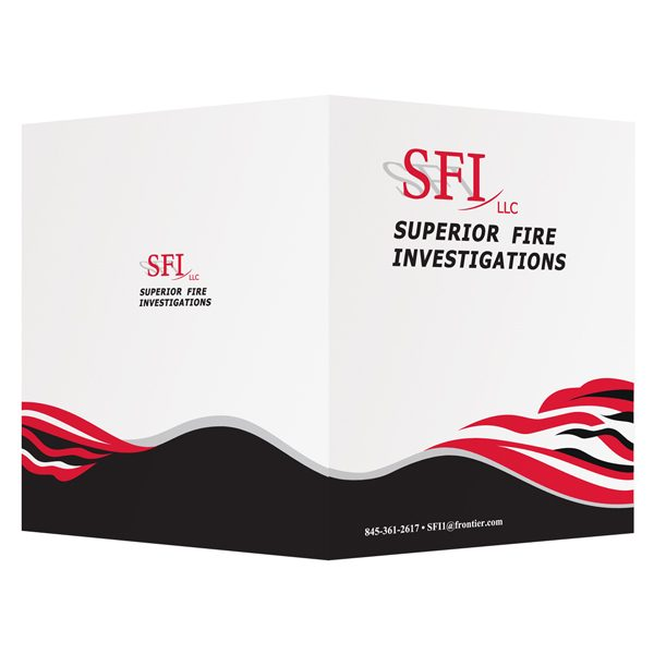 Superior Fire Investigations Black, Red & White Logo Folder (Front & Back View)