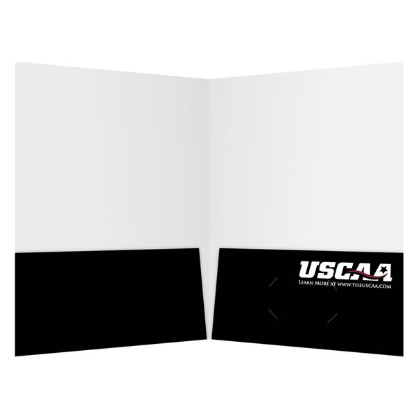 USCAA Black 2-Pocket Folder (Inside View)