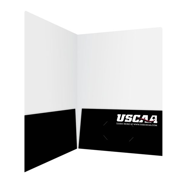 USCAA Black Pocket Folder with Business Logo (Inside Open View)