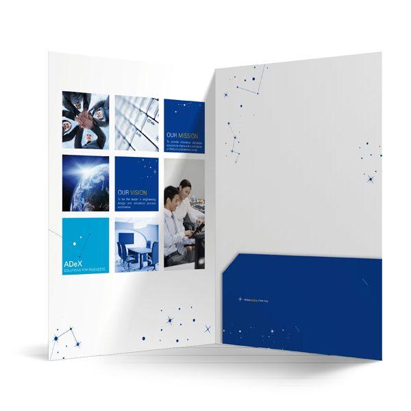 ADeX Dark Blue Pocket Folder (Inside View)