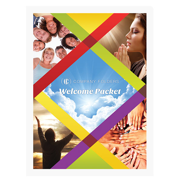Spiritual Church Welcome Packet Folder Template (Front View)