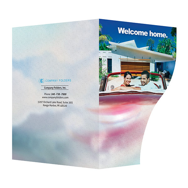 Retro Home Real Estate Folder Template (Front and Back View)