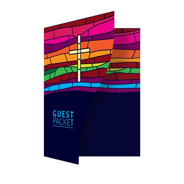 Multicolored Religious Folder Template (Front Open View)