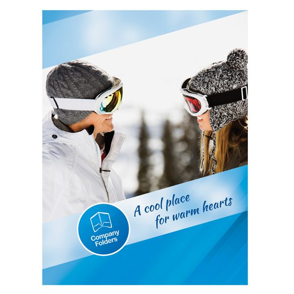 Blue Ski Resort Presentation Folder Template (Front View)