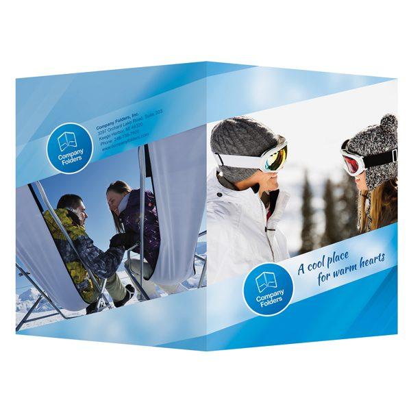 Blue Ski Resort Presentation Folder Template (Front and Back View)