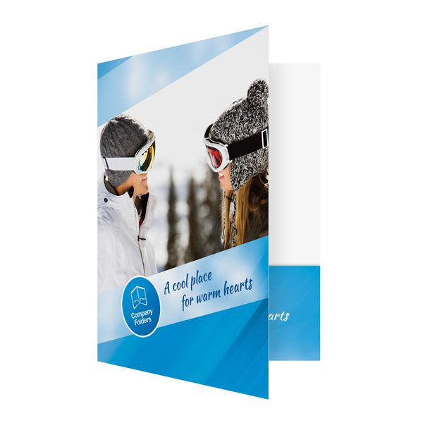 Blue Ski Resort Presentation Folder Template (Front Open View)