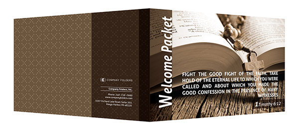 Catholic Church Welcome Packet Folder Template (Front and Back View)