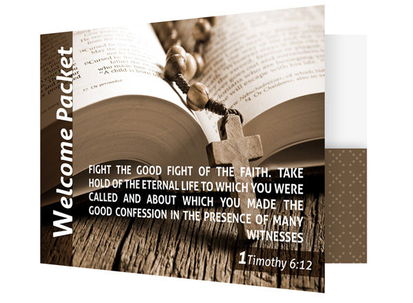 Catholic Church Welcome Packet Folder Template (Front Open View)