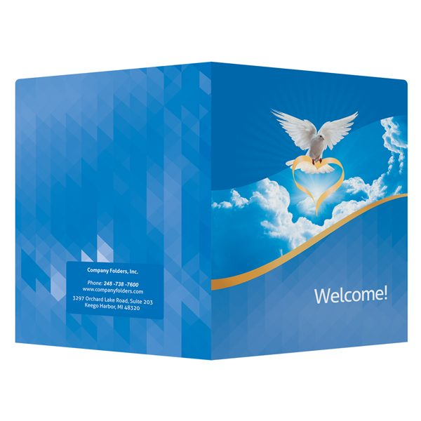 Dove of Love Church Visitors Welcome Folder Template (Front and Back View)