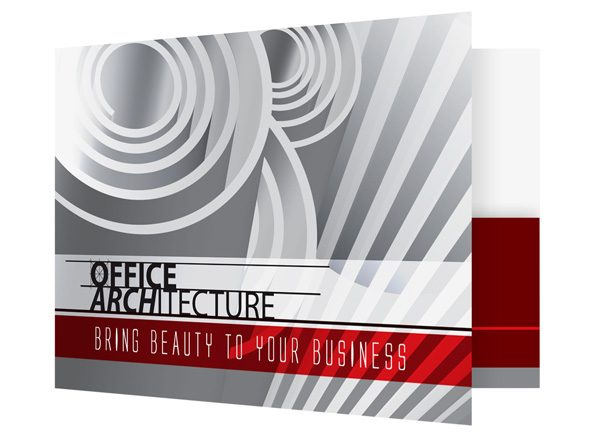 Office Architecture Single Pocket Folder Template (Front Open View)