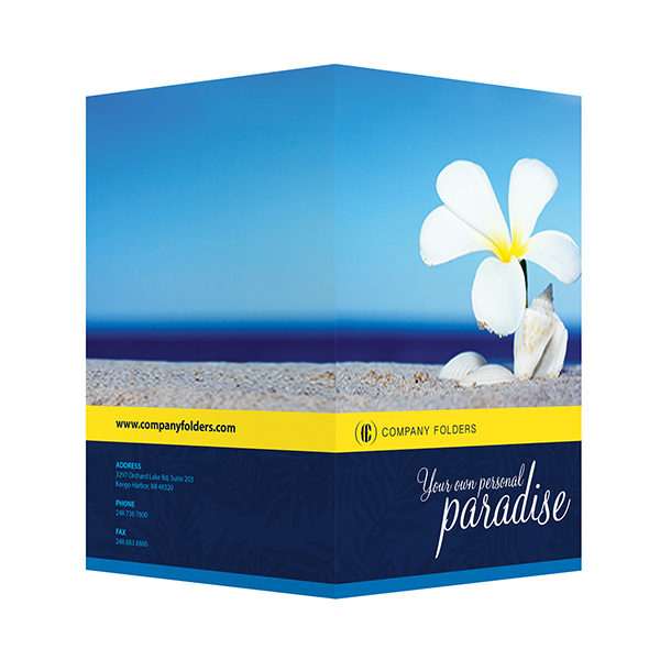 Beach Paradise Pocket Folder Template (Front and Back View)