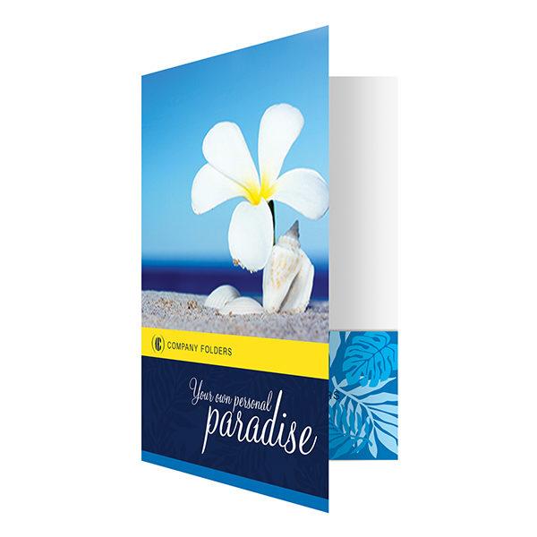 Beach Paradise Pocket Folder Template (Front Open View)