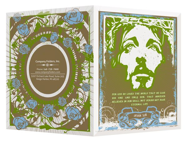 Jesus in Graffiti with Roses Church Visitor Folder Template (Front Open View)