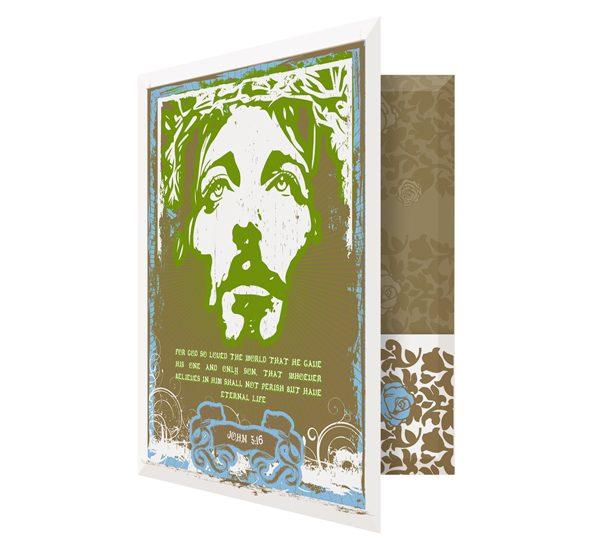 Jesus Graffiti Art Church Visitor Folder Template (Front Open View)