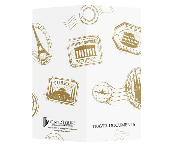 Grand Tours Travel Agent Document Folder (Front and Back View)