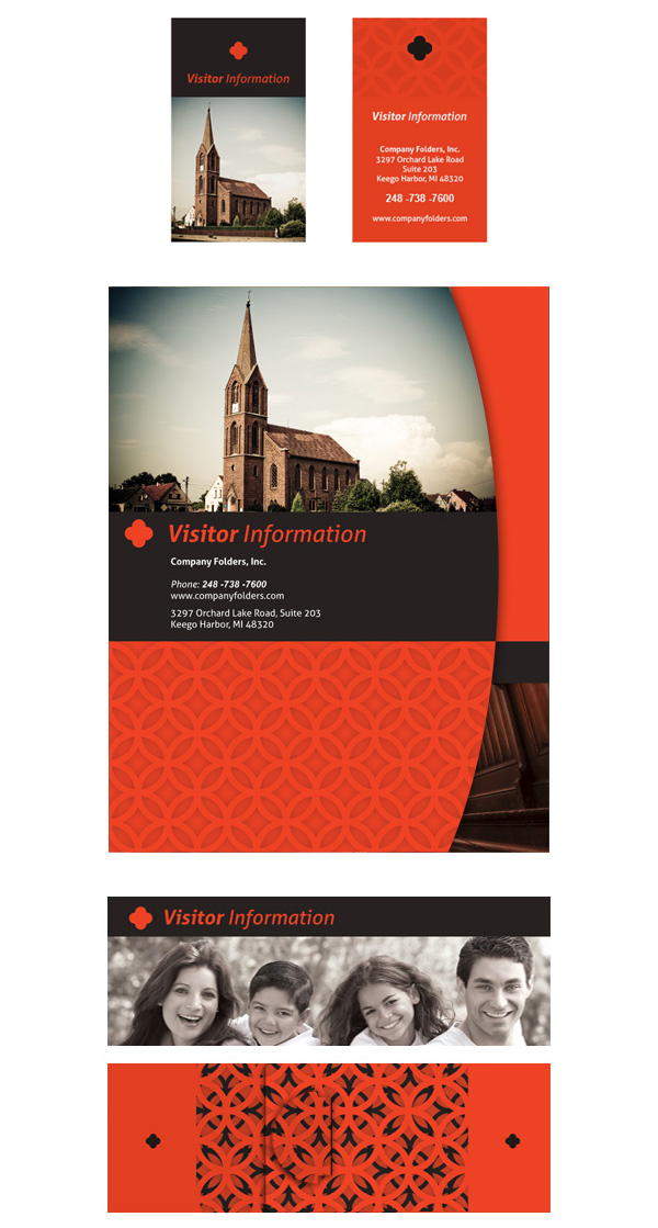 Sample Church Visitor Folder Packet & Card Template (Front View with Belly Band and Business Cards)