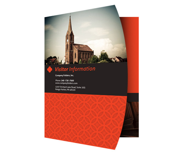 Church Visitor Folder Packet & Card Template Ideas (Front Open View)
