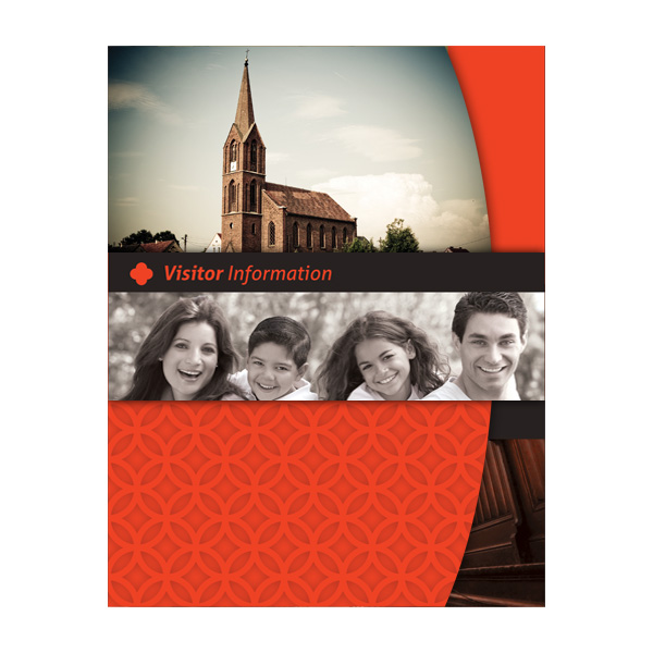 Happy Church Visitor Folder Packet & Card Template (Front View)