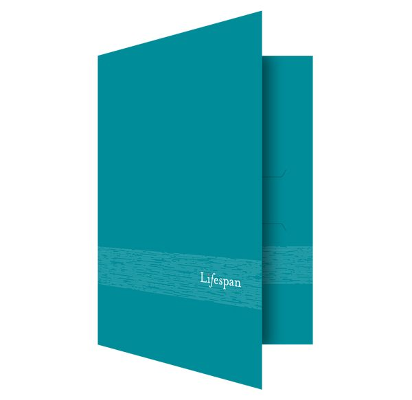 Lifespan Hospitals Turquoise Pocket Folder (Front Open View)