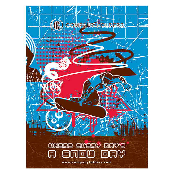 Cool Snowboard Vector Graphic Presentation Folder Template (Front View)