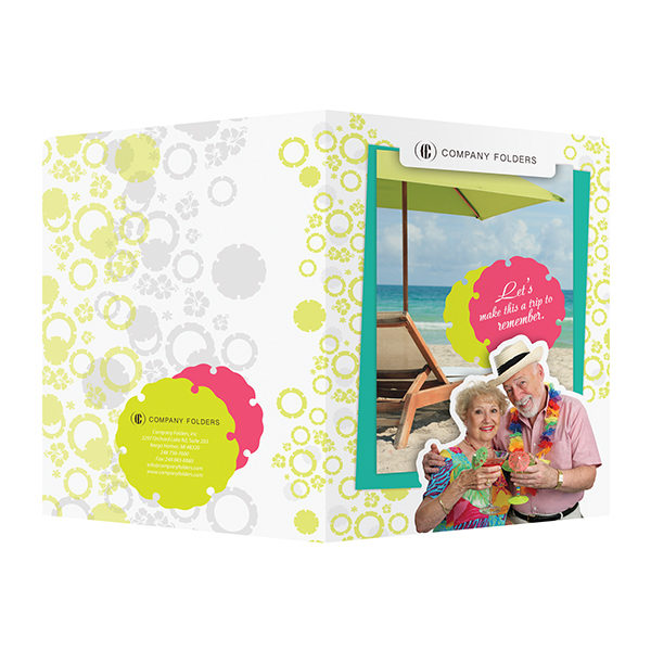 Tropical Beach Tourism Pocket Folder Template (Front and Back View)