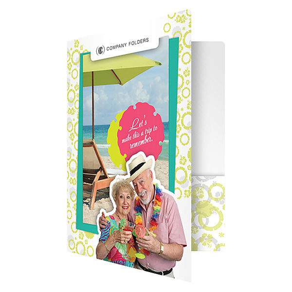Tropical Beach Tourism Pocket Folder Template (Front Open View)