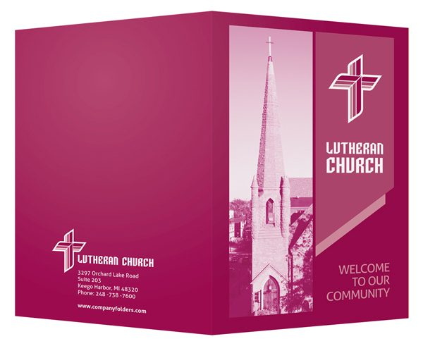 Magenta Lutheran Church Visitor Folder Template (Front and Back View)