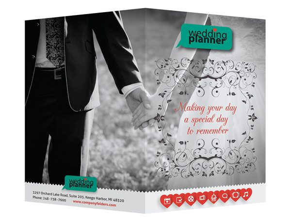 Ornate Wedding Planner Pocket Folder Template (Front and Back View)