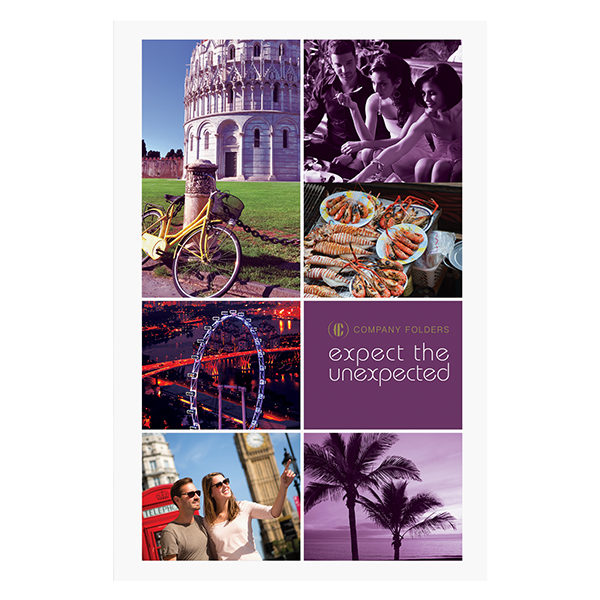 Purple Sightseeing Travel Folder Template (Front View)