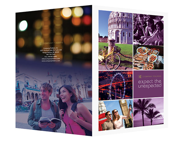 Purple Sightseeing Travel Folder Template (Front and Back View)