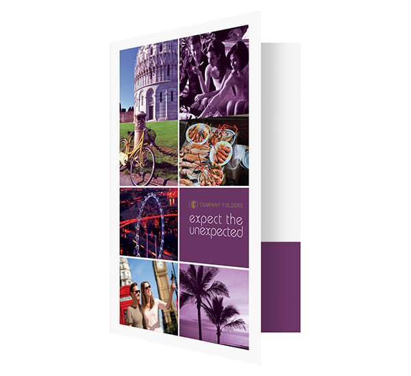 Purple Sightseeing Travel Folder Template (Front Open View)