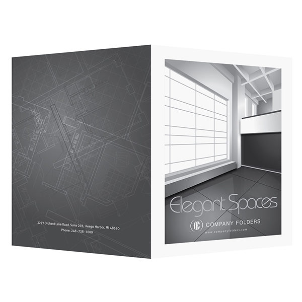 Elegant Spaces Architect Presentation Folder Template (Front and Back View)