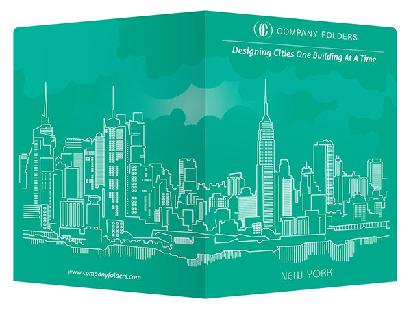 New York City Skyline Presentation Folder Template (Front and Back View)