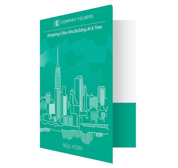 New York City Skyline Presentation Folder Template (Front Open View)