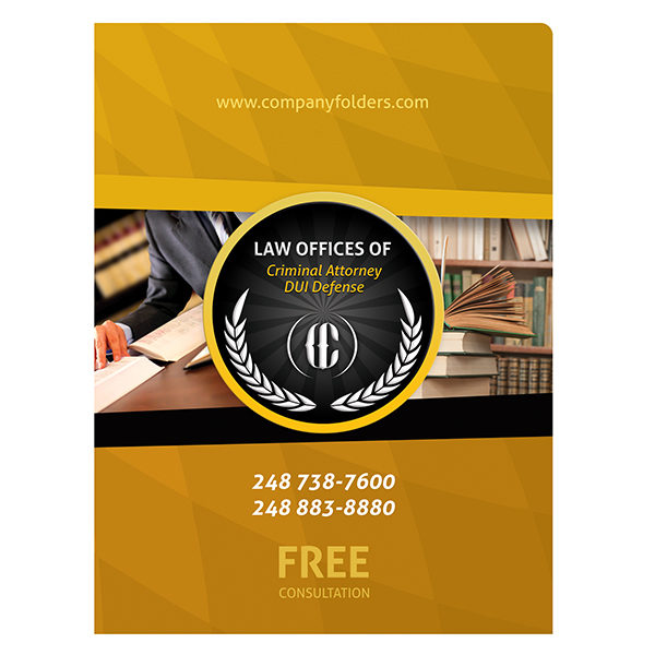 Criminal Attorney Legal Pocket Folder Template (Front View)