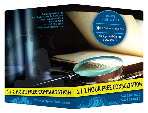 Private Investigator Presentation Folder Template (Front and Back View)