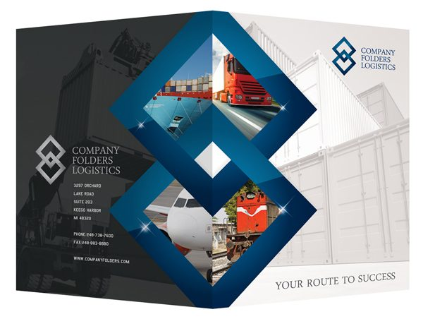 Blue Diamond Logistics Corporate Folder Template (Front and Back View)