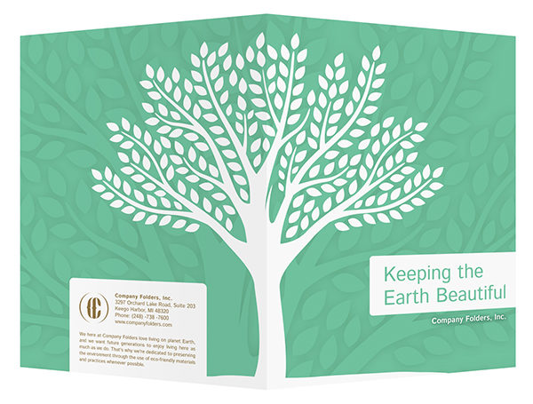 Green Eco-Friendly Presentation Folder Design Template (Front and Back View)