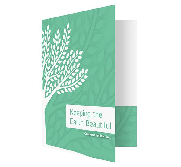 Green Eco-Friendly Presentation Folder Design Template (Front Open View)