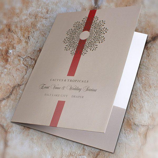 Cactus & Tropicals Event Venue & Wedding Folder (Front Open View)