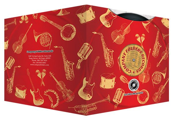 Red Music Label Pocket Folder Template (Front and Back View)