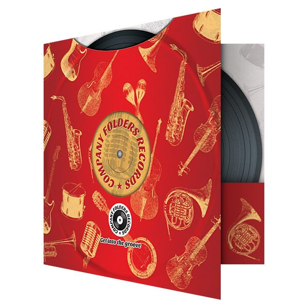 Red Music Label Pocket Folder Template (Front Open View)