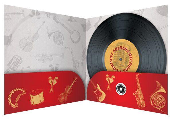 Red Music Label Pocket Folder Template (Inside View)